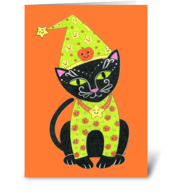 Happy Halloween Black Cat greeting card