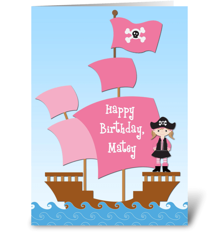 Pink Pirate Birthday Send This Greeting Card Designed By Starstock