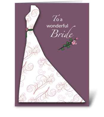 bridal shower plum dress congratulations greeting card