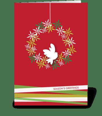 Peaceful dove on a wreath greeting card