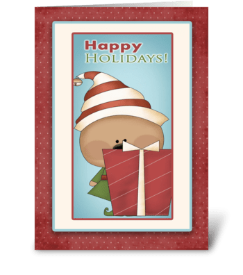 Cute Elf, Gift, Happy Holidays  greeting card