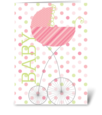 Baby Carriage Pink greeting card
