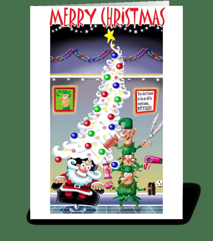 Santa's Hairdo greeting card