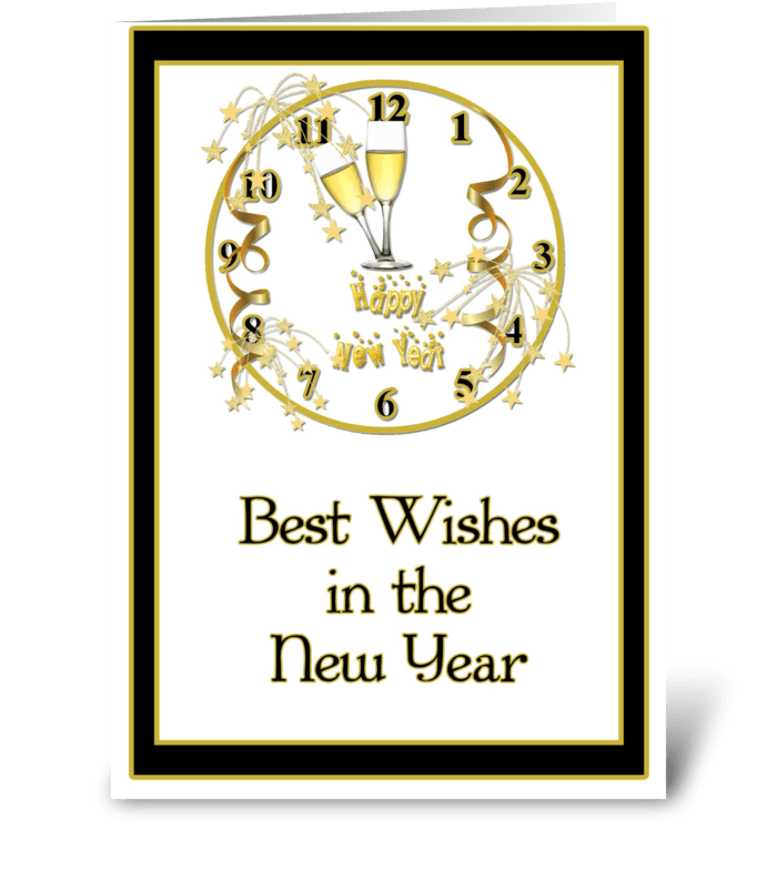 New Year, Gold Clock, Best Wishes - Send this greeting card designed ...