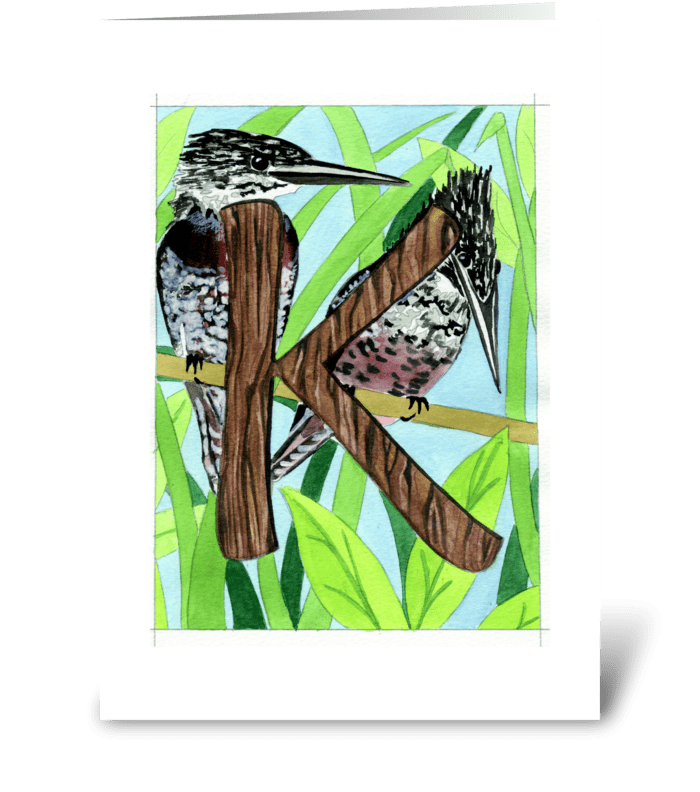 K for Kingfisher greeting card