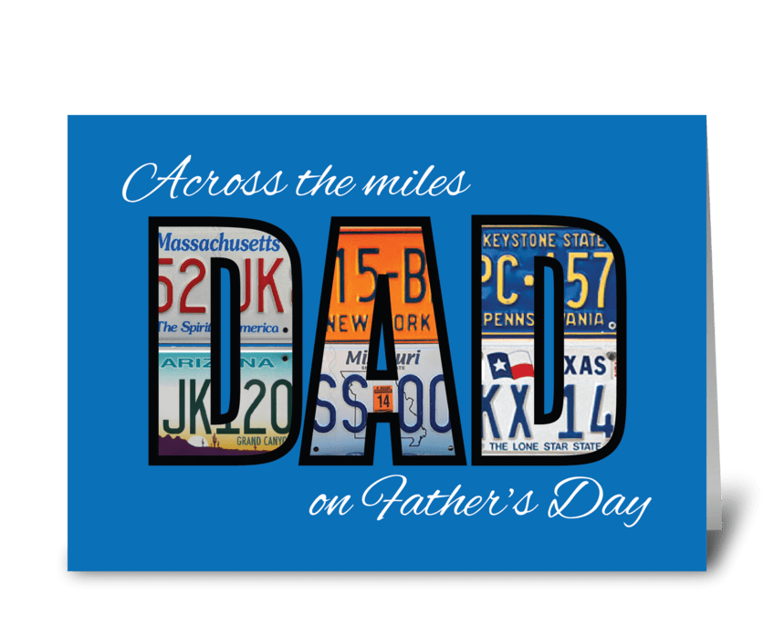 Father's Day License Plates on Blue greeting card