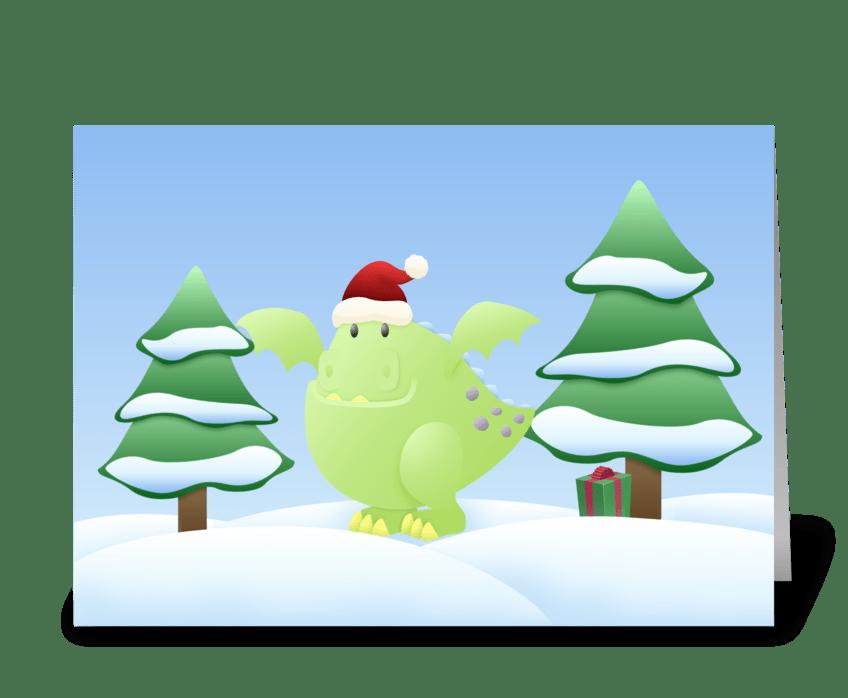 Green Dragon Monster Holiday Scene greeting card