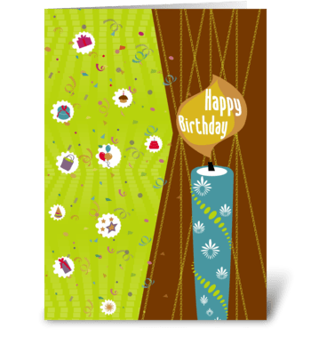 Birthday Candle and Confetti greeting card