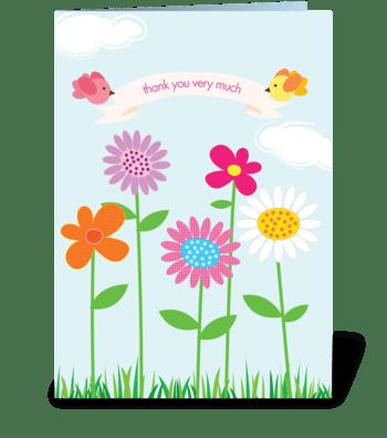 Springtime thanks greeting card