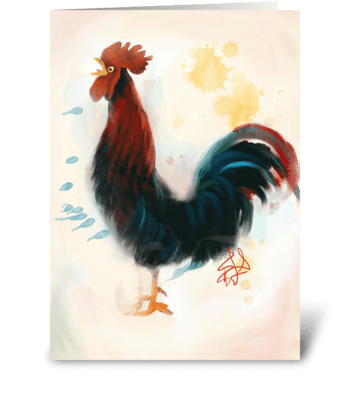 Crowing Rooster  greeting card