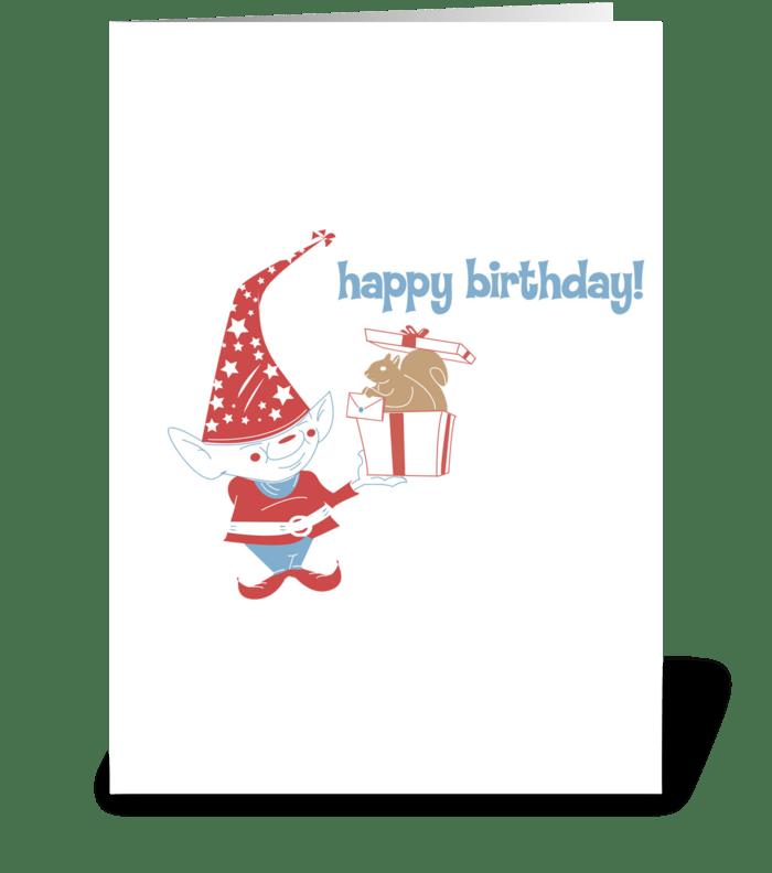 Gnome Birthday Surprise! greeting card
