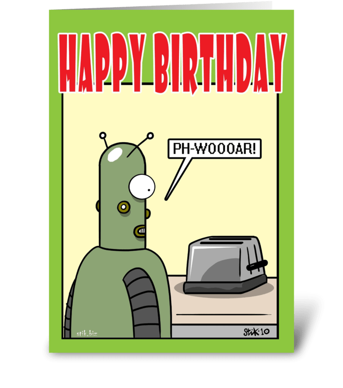 Robot LOVE Birthday card greeting card