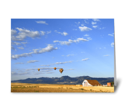 Flag Barn with Balloons greeting card