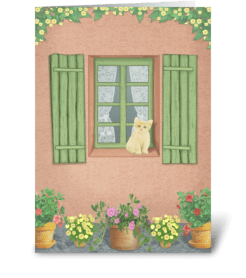 Cat At The Window greeting card