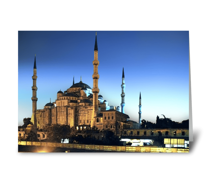 Blue Mosque at Twilight greeting card