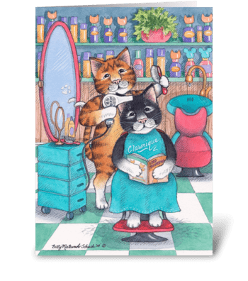 Hair Salon Cats Happy Birthday #58 greeting card