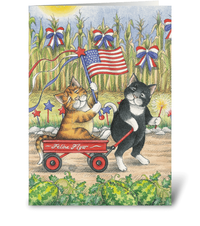 Independence Day Cats #19 greeting card