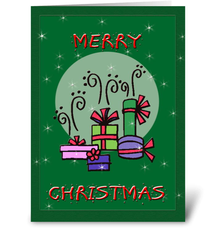 Presents, Merry Christmas greeting card