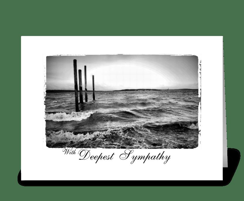 rough sea deepest sympathy greeting card