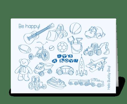Birthday-it's-a-boy-toys-set1 greeting card