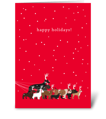 Holiday Dog Walk greeting card