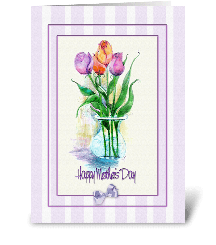 Painted Tulips, Mother's Day Greeting greeting card