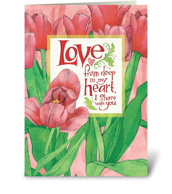 Pink Tulip Love greeting card