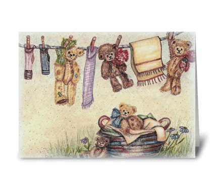 """Laundry Bears"" greeting card"