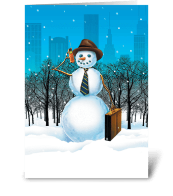 Business Snowman greeting card