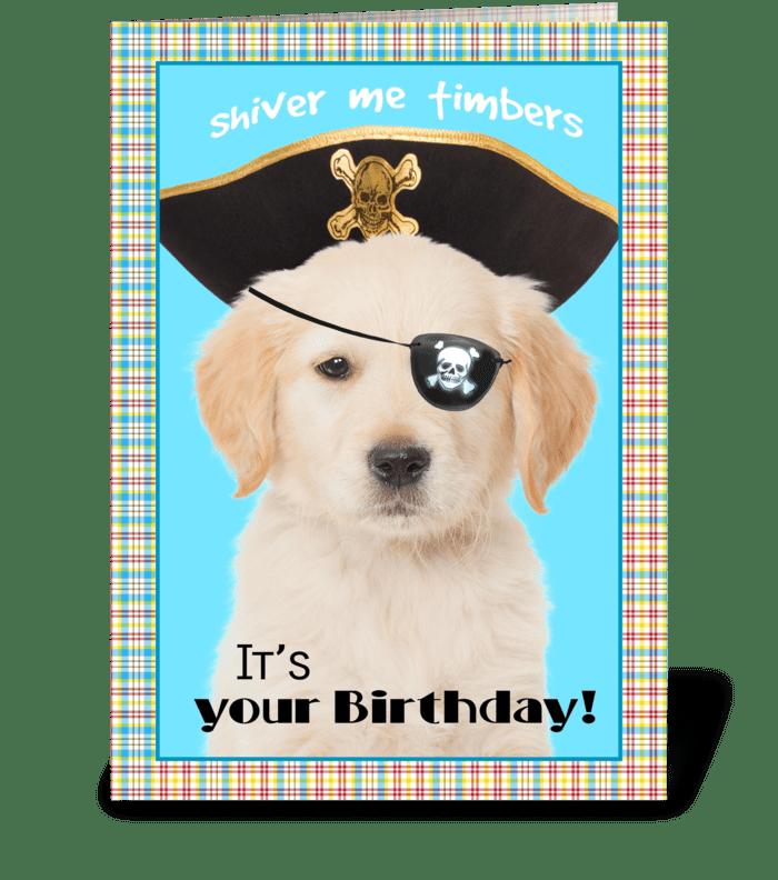 Shiver me Timbers Birthday Dog greeting card