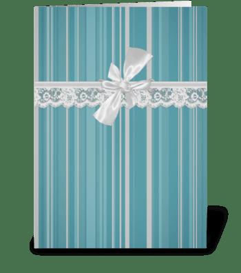 Aqua Stripe Vintage Lace  greeting card