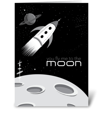 Retro Fly Me to the Moon Card greeting card