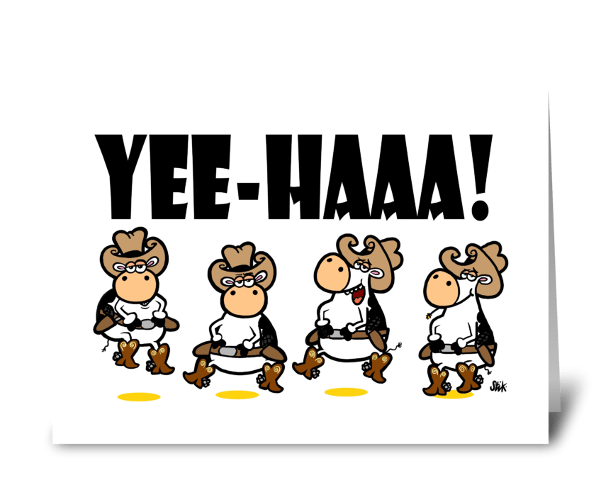 YEE-HAA! Cow Linedancing greeting card