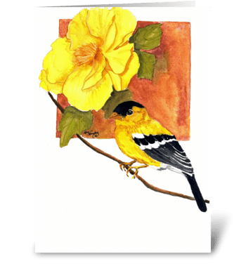 Goldfinch and flower greeting card