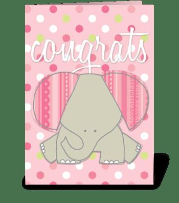 Baby Girl- Elephant greeting card