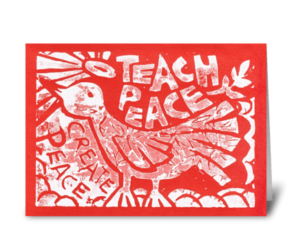 Teach Peace (Red) greeting card
