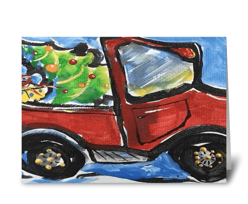 Little Red Truck greeting card