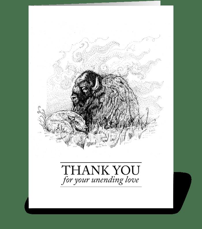 Buffalo Thank You Card greeting card