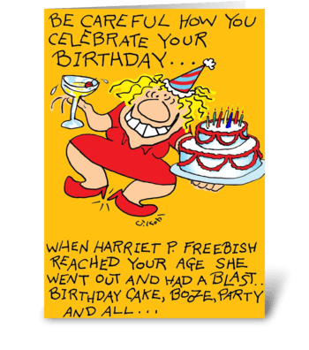 Careful Birthday greeting card