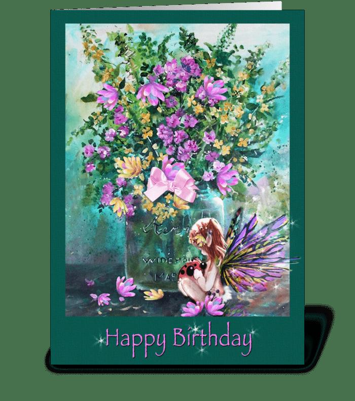 Birthday Wishes, Faery and Ladybug greeting card