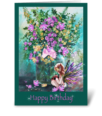 Birthday Wishes, Faery and Ladybug greeting card