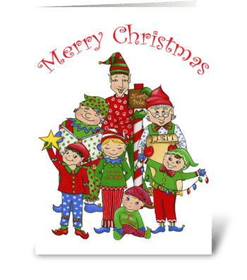 Jingle Elves greeting card