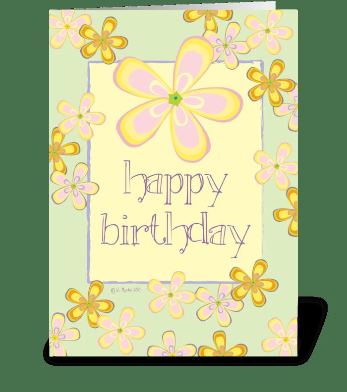 Flowers, Flowers, Flowers Birthday Card greeting card