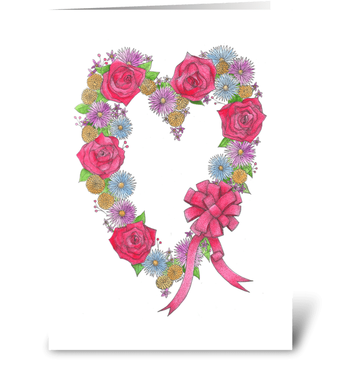 Lovely Wreath of Flowers greeting card