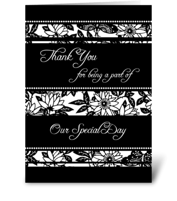 Wedding Thank You Black & White Floral greeting card