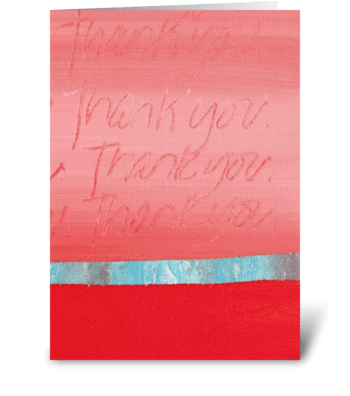 Thank You Painting - Pink on Red greeting card
