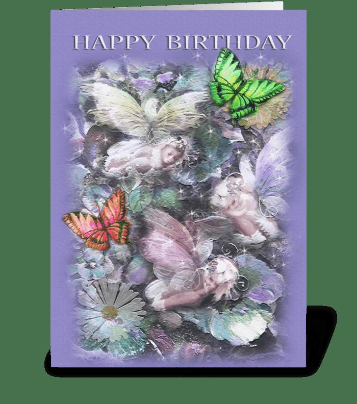 Sleeping Garden Fairies ,Happy  Birthday greeting card