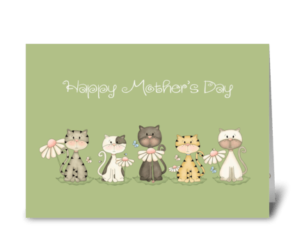 Happy Mother's Day - Five Cats greeting card