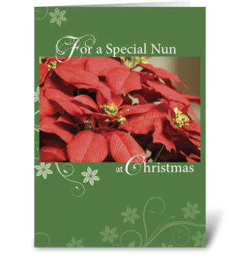 Nun, Christmas Poinsettia, Red and Green greeting card