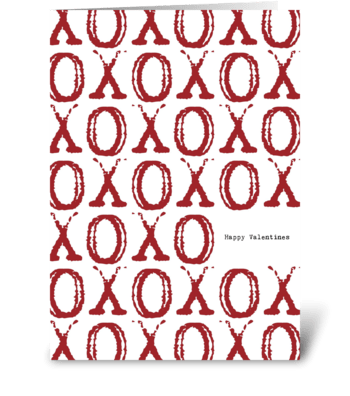 XOXO Hugs & Kisses Valentine's Day greeting card